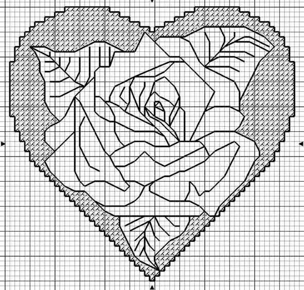 Схемы вышивки Сердца в День Валентина.