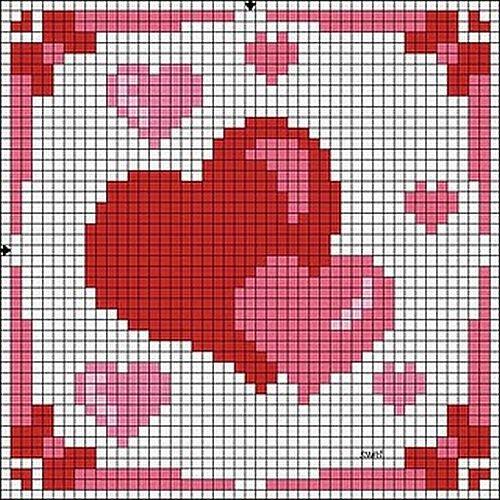 схемы для вышивки сердец.